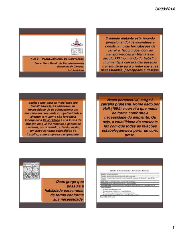 04/03/2014  Aula 2 – PLANEJAMENTO DE CARREIRAS. Tema: Novo Mundo do Trabalho e Novos desenhos de Carreira. Prof. Angelo Pe...