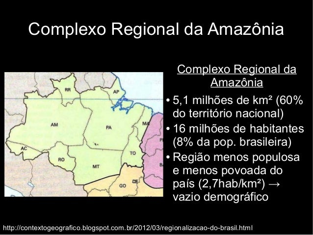 Complexo Regional da Amazônia  Complexo Regional da  Amazônia  ● 5,1 milhões de km² (60%  do território nacional)  ● 16 mi...