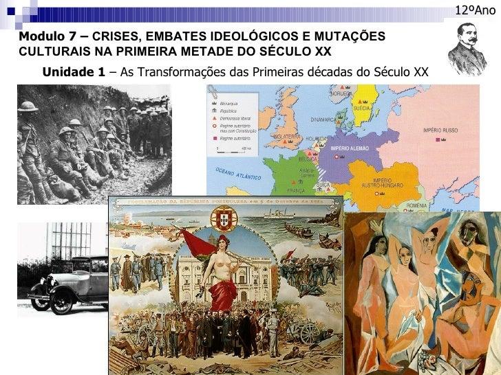 Modulo 7 –  CRISES, EMBATES IDEOLÓGICOS E MUTAÇÕES CULTURAIS NA PRIMEIRA METADE DO SÉCULO XX 12ºAno Unidade 1  – As Transf...