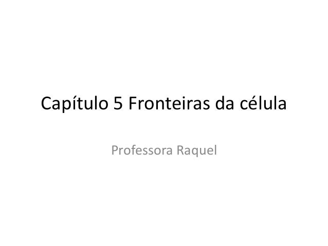 Capítulo 5 Fronteiras da célula Professora Raquel