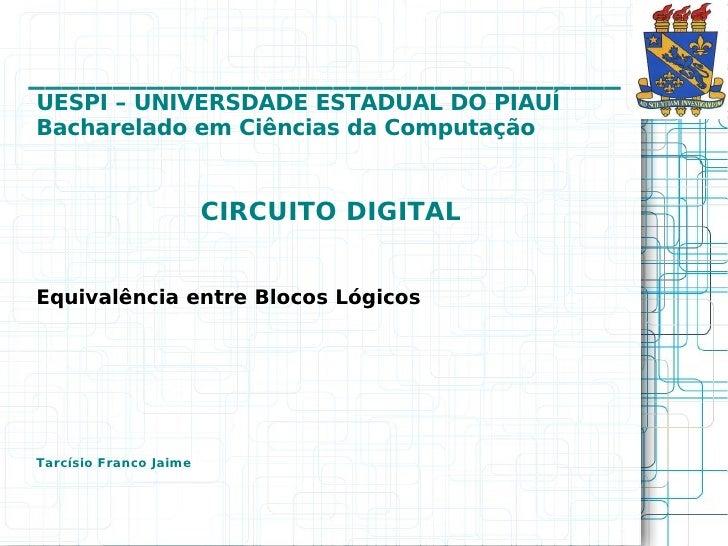 ___________________________________UESPI – UNIVERSDADE ESTADUAL DO PIAUÍBacharelado em Ciências da Computação             ...