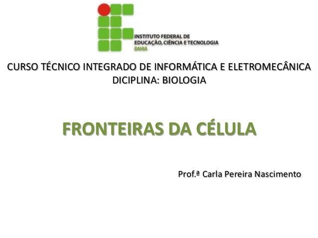 CURSO TÉCNICO INTEGRADO DE INFORMÁTICA E ELETROMECÂNICA                   DICIPLINA: BIOLOGIA         FRONTEIRAS DA CÉLULA...