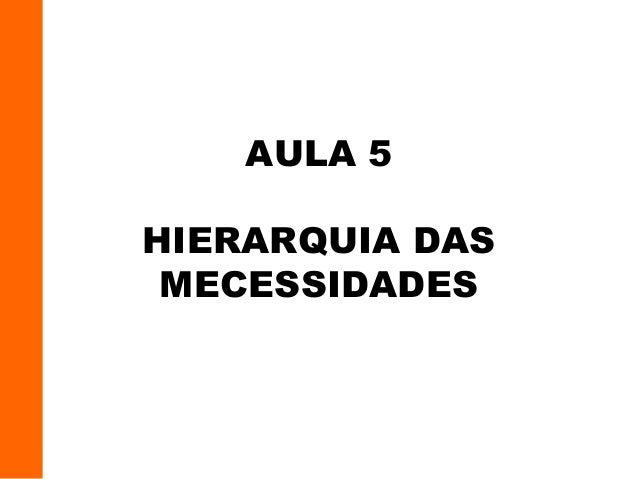 AULA 5 HIERARQUIA DAS MECESSIDADES
