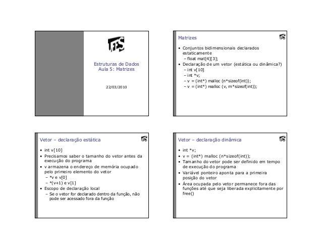 Estruturas de DadosAula 5: Matrizes22/03/2010Matrizes• Conjuntos bidimensionais declaradosestaticamente– float mat[4][3];•...