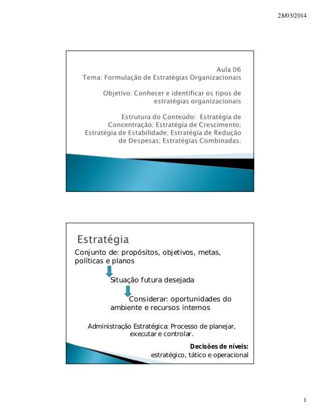 28/03/2014  1  Conjunto de: propósitos, objetivos, metas,  políticas e planos  Situação futura desejada  Considerar: oport...