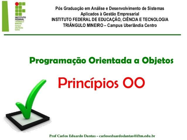 Programação Orientada a Objetos Princípios OO Pós Graduação em Análise e Desenvolvimento de Sistemas Aplicados à Gestão Em...