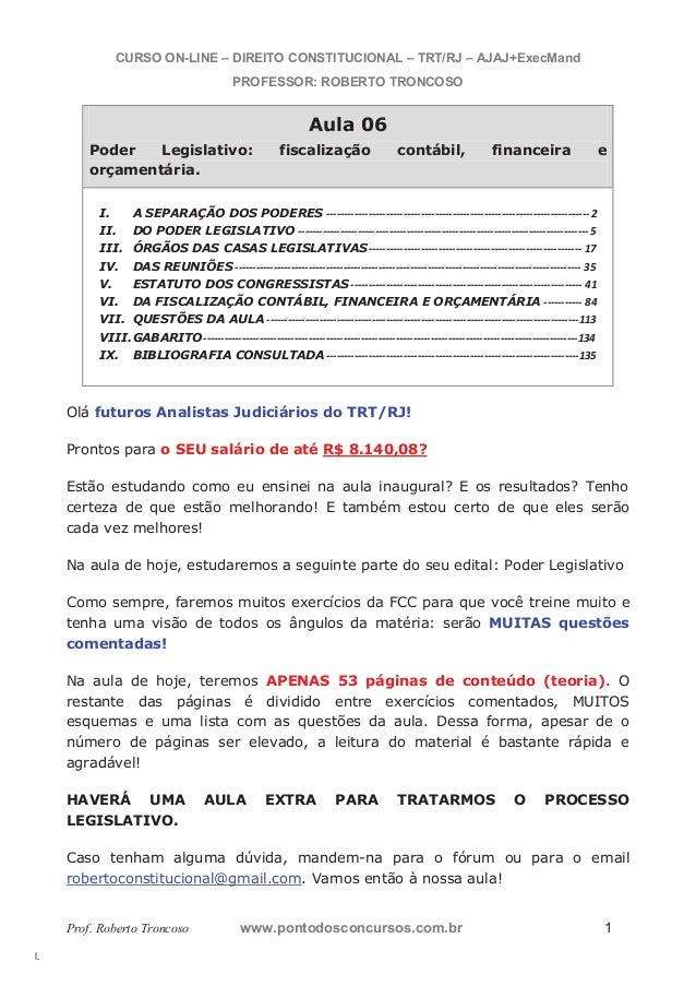 l.  CURSO ON-LINE – DIREITO CONSTITUCIONAL – TRT/RJ – AJAJ+ExecMand  PROFESSOR: ROBERTO TRONCOSO  Aula 06  Poder Legislati...
