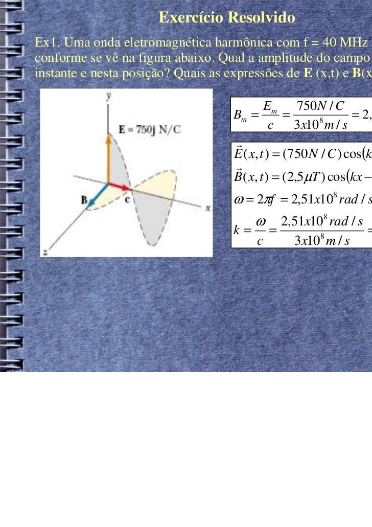 Exercício ResolvidoEx1. Uma onda eletromagnética harmônica com f = 40 MHz viaja no vácuo,conforme se vê na figura abaixo. ...