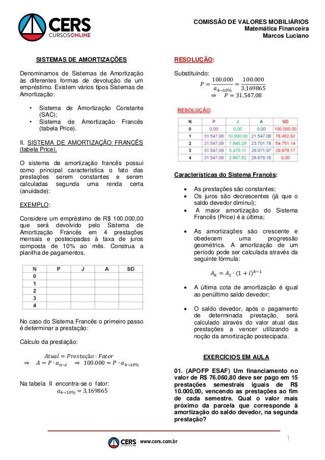 www.cers.com.br COMISSÃO DE VALORES MOBILIÁRIOS Matemática Financeira Marcos Luciano 1 SISTEMAS DE AMORTIZAÇÕES Denominamo...