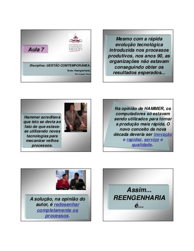 27/01/2014  Aula 7 Disciplina: GESTÃO COMTEMPORÂNEA. Tema: Reengenharia. Prof. Angelo Peres  Hammer acreditava que isto se...