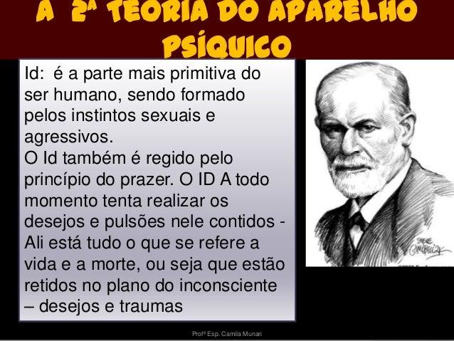 A 2ª Teoria do Aparelho Psíquico Id: é a parte mais primitiva do ser humano, sendo formado pelos instintos sexuais e agres...