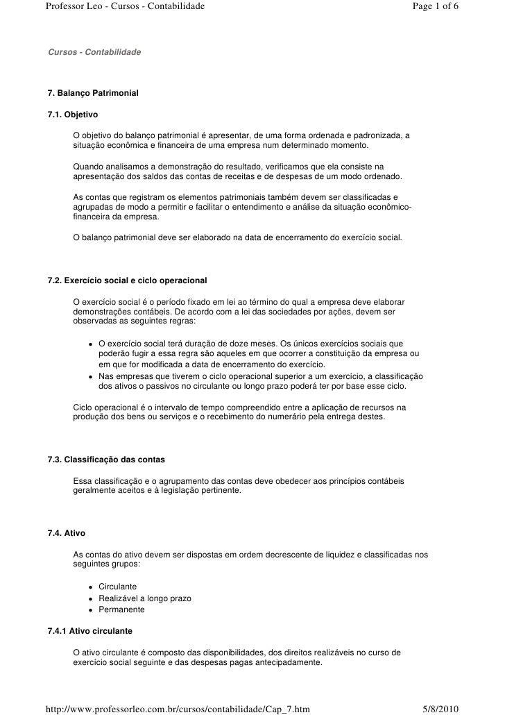 Professor Leo - Cursos - Contabilidade                                                            Page 1 of 6    Cursos - ...