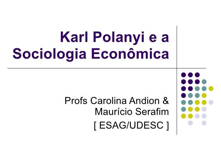 Karl Polanyi e a Sociologia Econômica Profs Carolina Andion & Maurício Serafim [ ESAG/UDESC ]