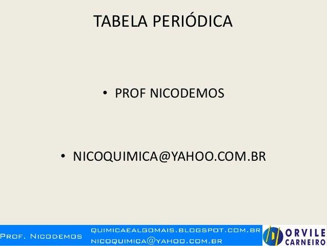 TABELA PERIÓDICA • PROF NICODEMOS • NICOQUIMICA@YAHOO.COM.BR