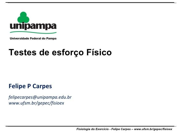 Felipe P Carpes [email_address] www.ufsm.br/gepec/fisioex Testes de esforço Físico