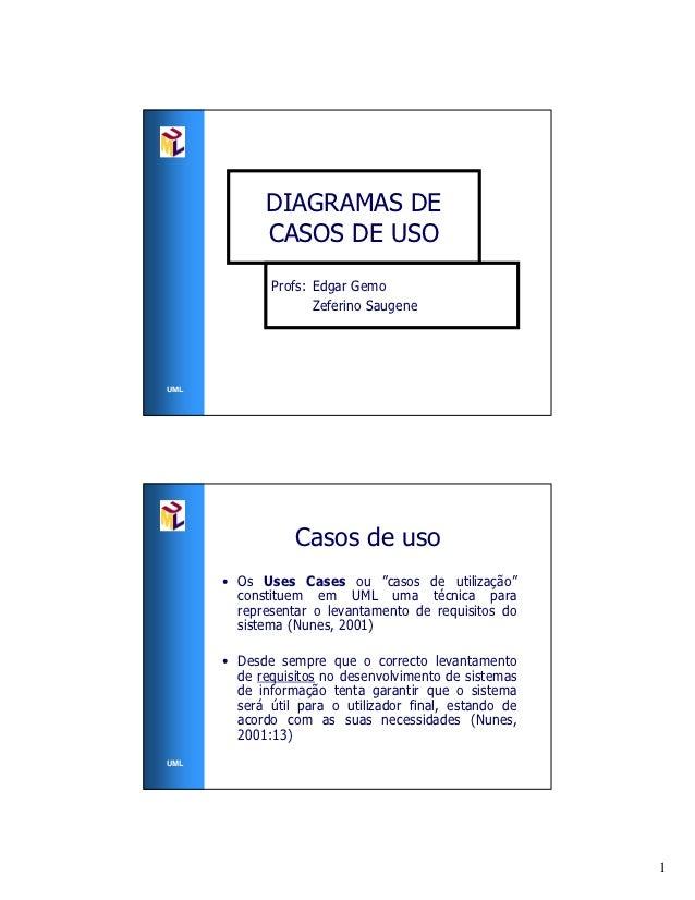 DIAGRAMAS DE             CASOS DE USO             Profs: Edgar Gemo                    Zeferino SaugeneUML                ...
