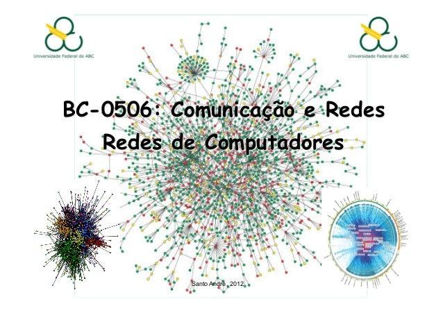 BC-0506: Comunicação e Redes   Redes de Computadores           Santo André, 2012