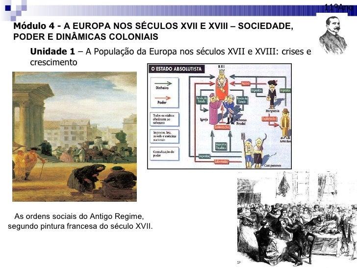 Módulo 4 -  A EUROPA NOS SÉCULOS XVII E XVIII – SOCIEDADE, PODER E DINÂMICAS COLONIAIS 11ºAno Unidade 1  – A População da ...