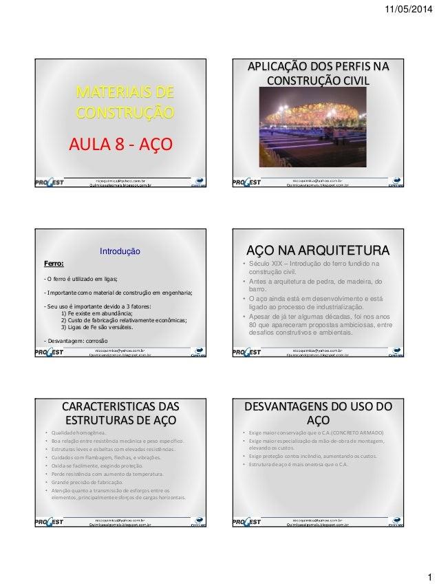 11/05/2014 1 MATERIAIS DE CONSTRUÇÃO AULA 8 - AÇO APLICAÇÃO DOS PERFIS NA CONSTRUÇÃO CIVIL Ferro: - O ferro é utilizado em...