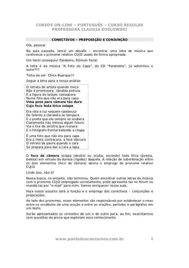 CURSOS ON-LINE – PORTUGUÊS – CURSO REGULAR            PROFESSORA CLAUDIA KOZLOWSKI                CONECTIVOS – PREPOSIÇÃO ...