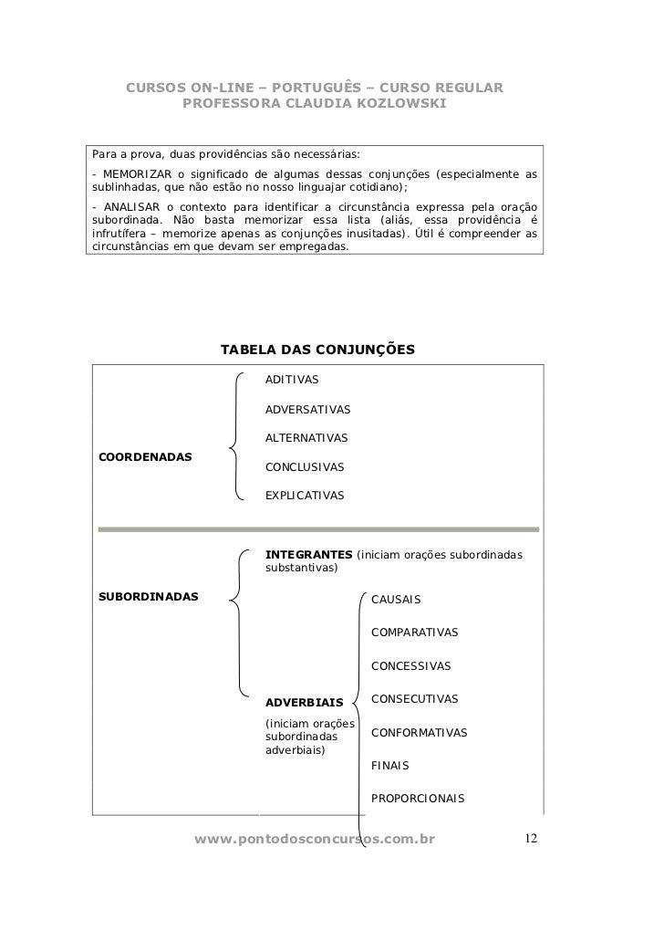CURSOS ON-LINE – PORTUGUÊS – CURSO REGULAR            PROFESSORA CLAUDIA KOZLOWSKIPara a prova, duas providências são nece...