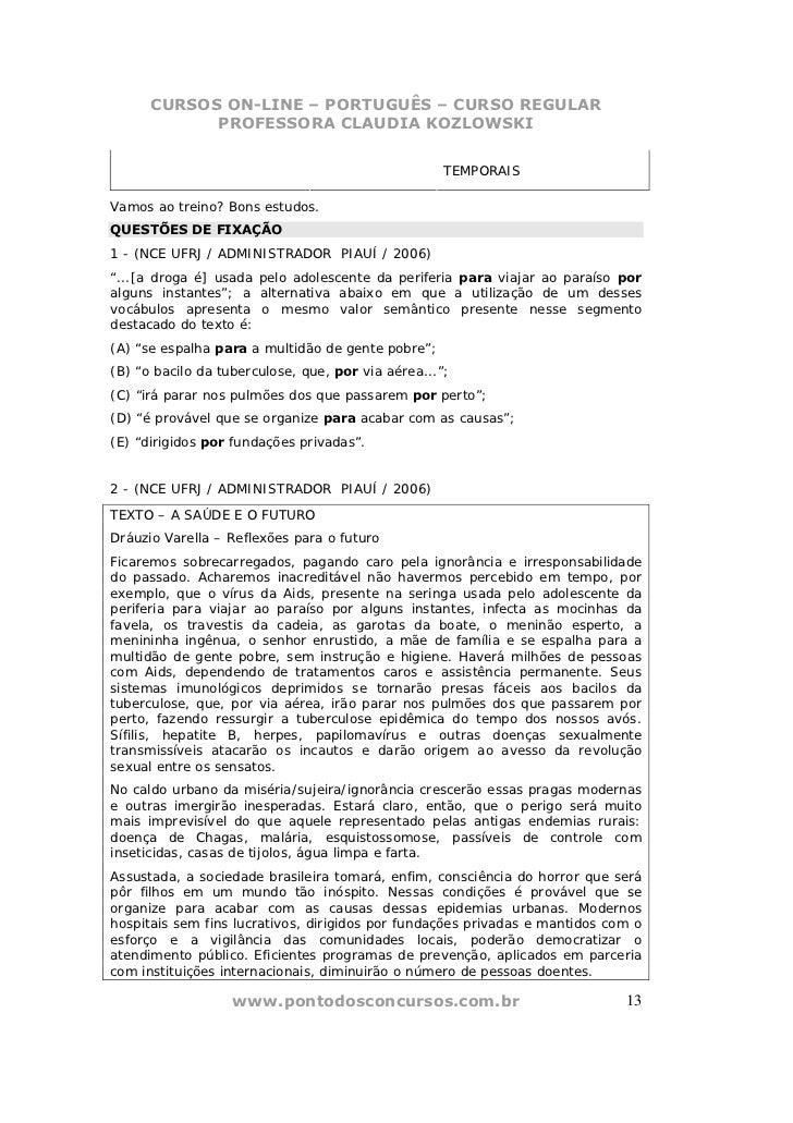 CURSOS ON-LINE – PORTUGUÊS – CURSO REGULAR            PROFESSORA CLAUDIA KOZLOWSKI                                        ...