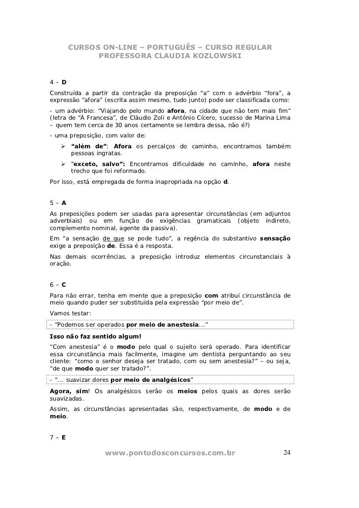 CURSOS ON-LINE – PORTUGUÊS – CURSO REGULAR            PROFESSORA CLAUDIA KOZLOWSKI4–DConstruída a partir da contração da p...