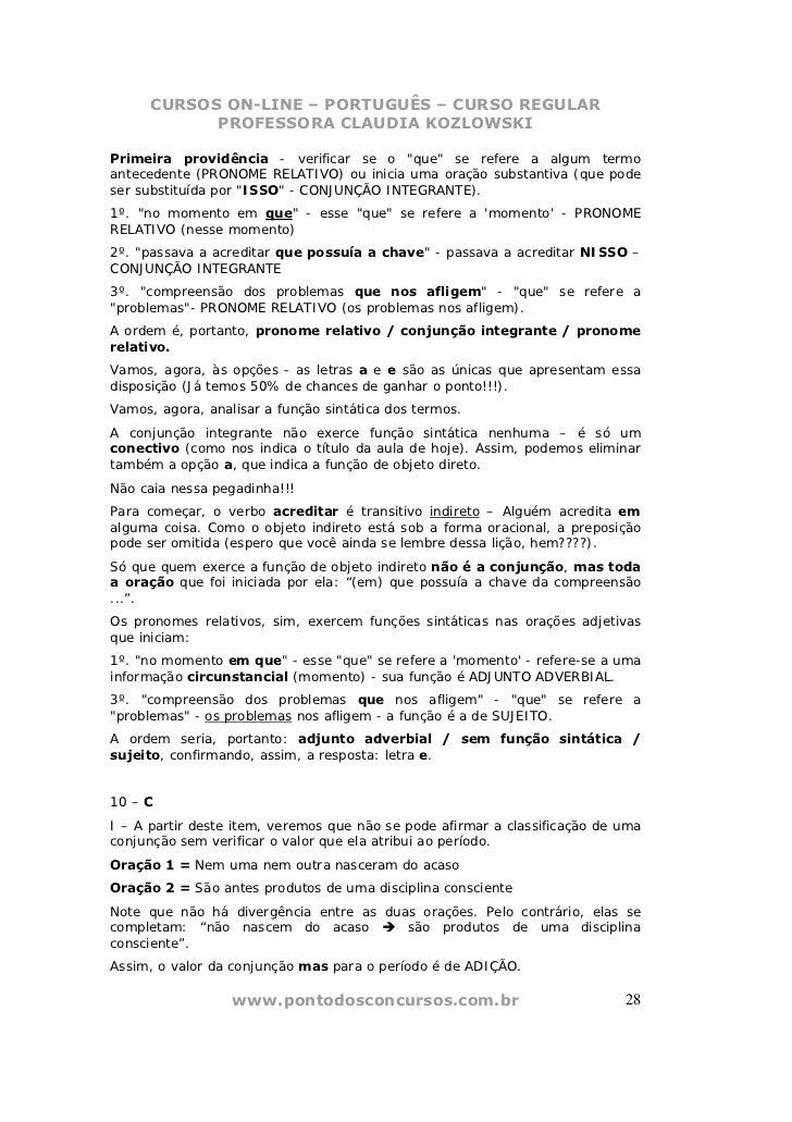 """CURSOS ON-LINE – PORTUGUÊS – CURSO REGULAR            PROFESSORA CLAUDIA KOZLOWSKIPrimeira providência - verificar se o """"q..."""