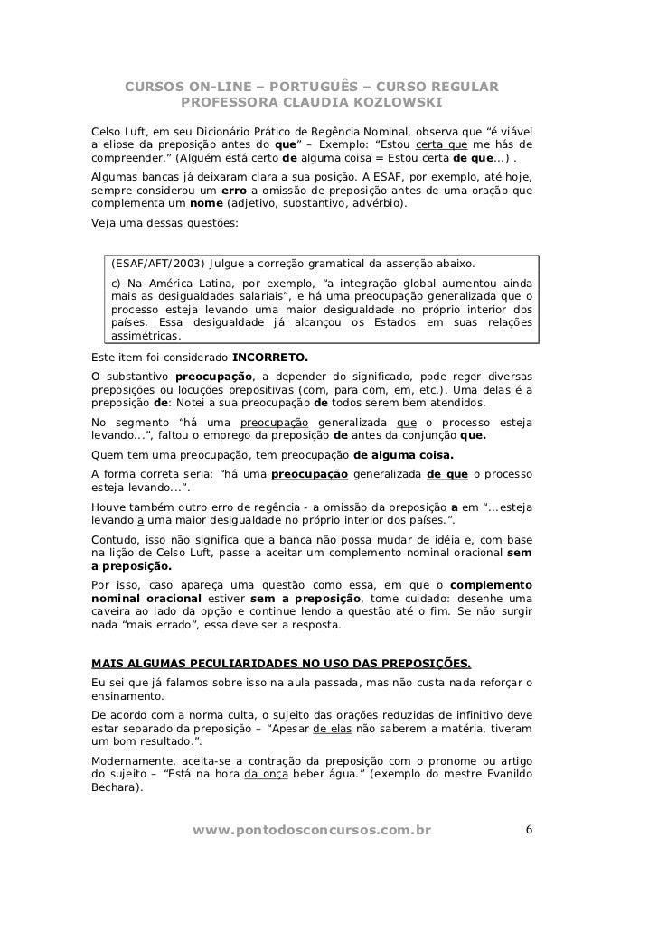 CURSOS ON-LINE – PORTUGUÊS – CURSO REGULAR            PROFESSORA CLAUDIA KOZLOWSKICelso Luft, em seu Dicionário Prático de...