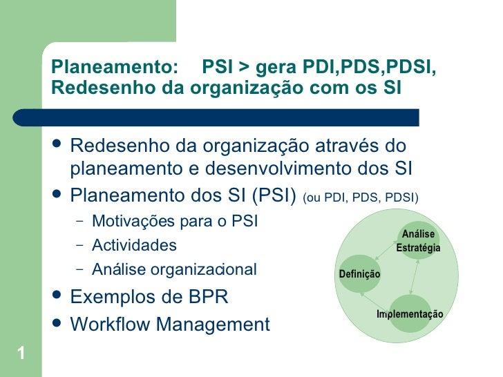 Planeamento: PSI > gera PDI,PDS,PDSI,  Redesenho da organização com os SI <ul><li>Redesenho da organização através do plan...
