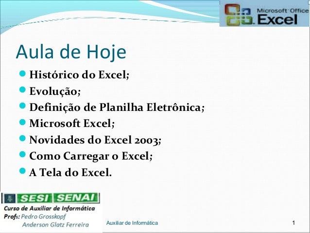 Aula de Hoje Histórico do Excel; Evolução; Definição de Planilha Eletrônica; Microsoft Excel; Novidades do Excel 2003...