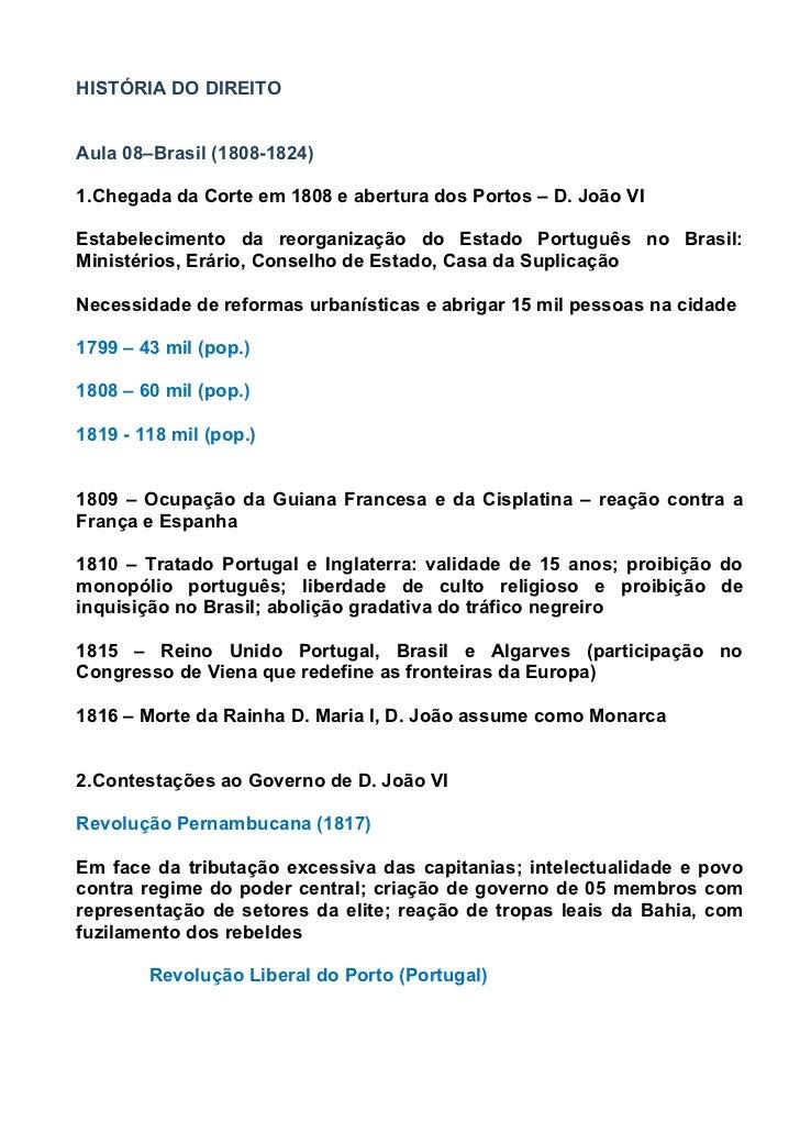 HISTÓRIA DO DIREITOAula 08–Brasil (1808-1824)1.Chegada da Corte em 1808 e abertura dos Portos – D. João VIEstabelecimento ...