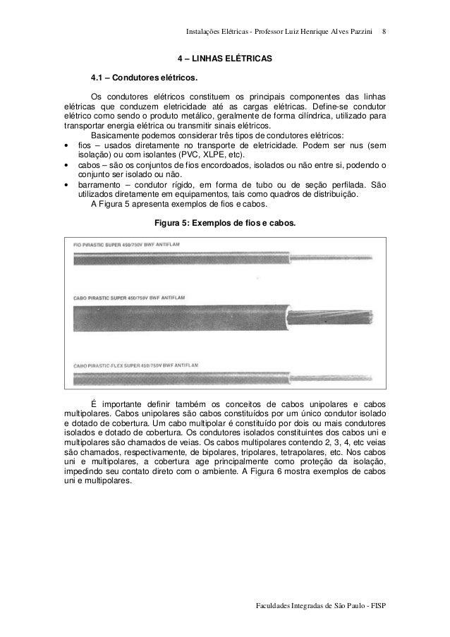 Instalações Elétricas - Professor Luiz Henrique Alves Pazzini Faculdades Integradas de São Paulo - FISP 8 4 – LINHAS ELÉTR...