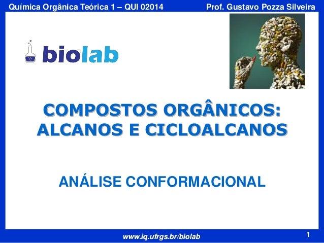 Química Orgânica Teórica 1 – QUI 02014  Prof. Gustavo Pozza Silveira  COMPOSTOS ORGÂNICOS: ALCANOS E CICLOALCANOS ANÁLISE ...