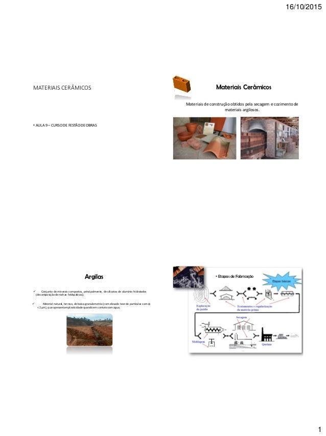 16/10/2015 1 MATERIAIS CERÂMICOS • AULA 9 – CURSO DE FESTÃO DE OBRAS Materiais Cerâmicos Materiais de construção obtidos p...