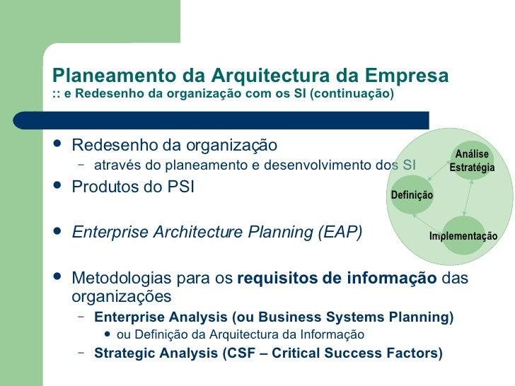Planeamento da Arquitectura da Empresa  :: e Redesenho da organização com os SI (continuação) <ul><li>Redesenho da organiz...