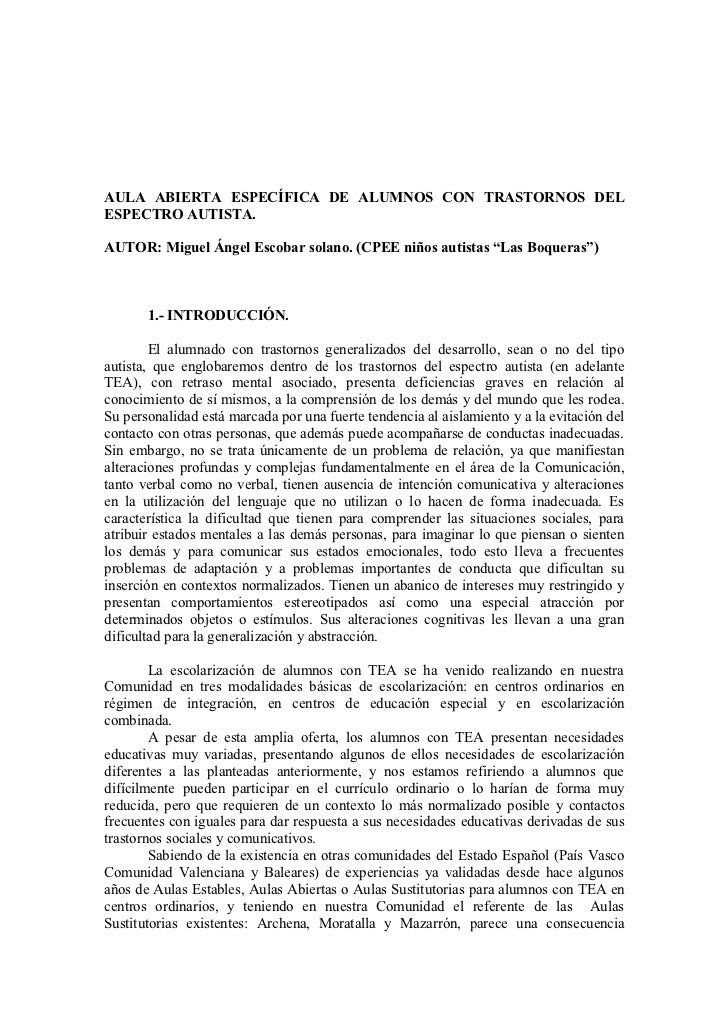 AULA ABIERTA ESPECÍFICA DE ALUMNOS CON TRASTORNOS DELESPECTRO AUTISTA.AUTOR: Miguel Ángel Escobar solano. (CPEE niños auti...