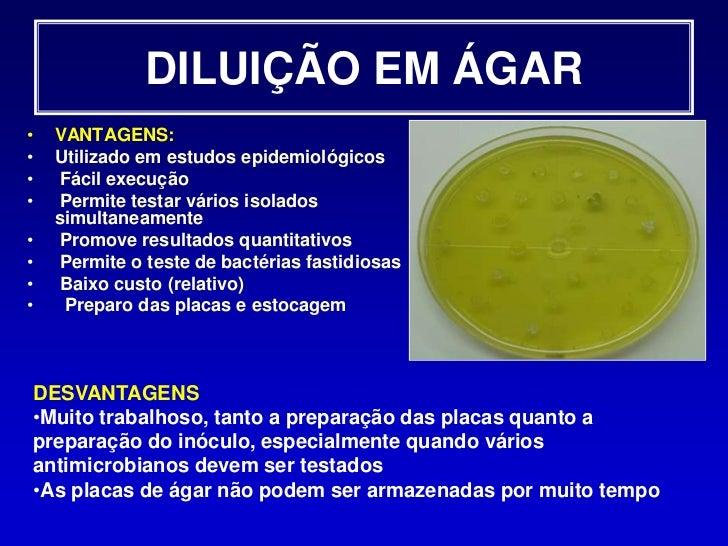 Data de validade</li></li></ul><li>TESTE DE DIFUSÃO EM ÁGAR<br />Inoculação<br /><ul><li>Superfície do ágar não deve est...