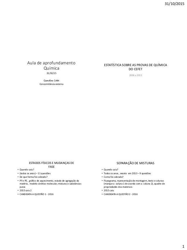 31/10/2015 1 Aula de aprofundamento Química 31/10/15 Questões Cefet Concomitância externa ESTATÍSTICA SOBRE AS PROVAS DE Q...