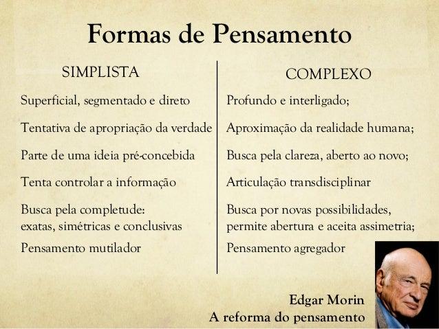 Formas de Pensamento SIMPLISTA COMPLEXO Superficial, segmentado e direto Tentativa de apropriação da verdade Parte de uma ...