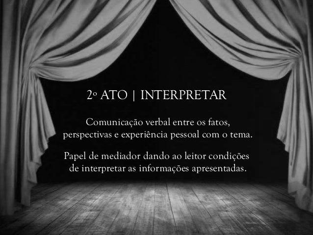2º ATO | INTERPRETAR Comunicação verbal entre os fatos, perspectivas e experiência pessoal com o tema. Papel de mediador d...