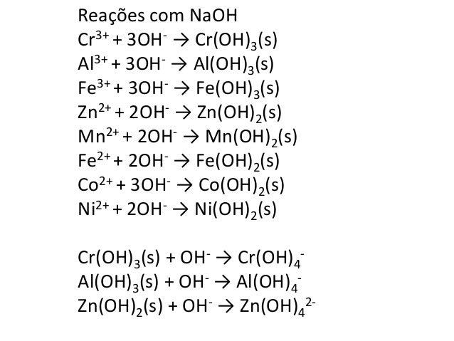 Reações com NH4(OH)  Mn2+ + 2NH4(OH) → Mn(OH)2  Zn2+ + 2NH4(OH) → Zn(OH)2  Ni2+ + 2NH4(OH) → Ni(OH)2  Co2+ + 2NH4(OH) → Co...