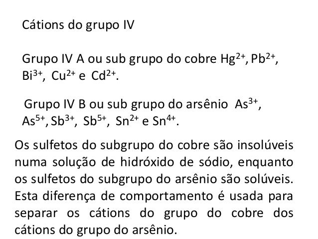 Reação com S2-  Hg2+ + (NH4)2S → HgS(s) + 2NH4  +  Pb2+ + (NH4)2S → PbS(s) + 2NH4  +  Cu2+ + (NH4)2S → CuS(s) + 2NH4  +  2...