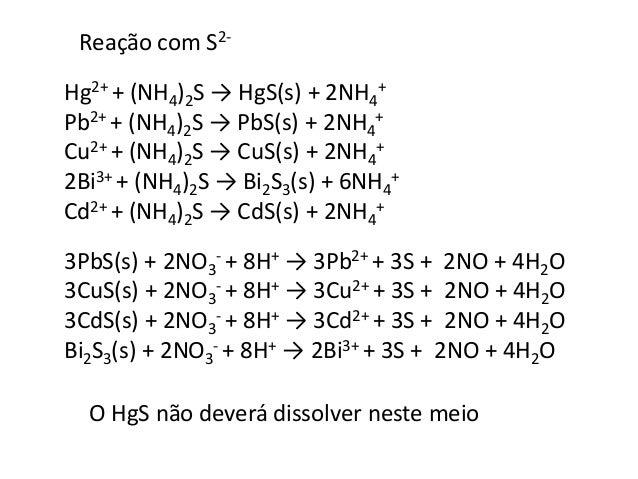 Chumbo (II)  2- + H2O → 2CrO4  Cr2O7  2- + 2H+  Pb2+ + CrO4  2- → PbCrO4(s) precipitado amarelo  Bismuto (III)  Reação com...