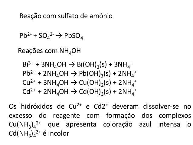 Cobre (II)  Reação com Ferrocianeto de potássio formando um precipitado  castanho avermelhado  2Cu2+ + [Fe(CN)6]4- → Cu2[F...