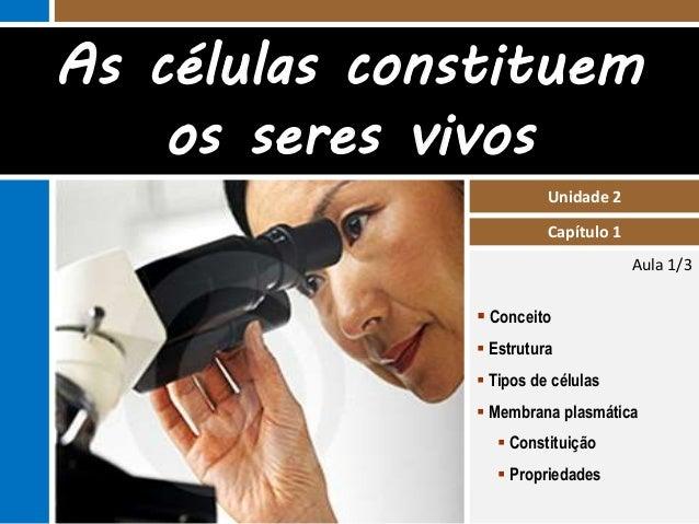 As células constituem  Aula 1/3  Unidade 2  Capítulo 1  os seres vivos   Conceito   Estrutura   Tipos de células   Mem...