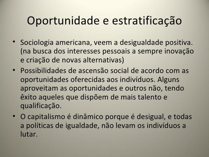 Oportunidade e estratificação <ul><li>Sociologia americana, veem a desigualdade positiva.(na busca dos interesses pessoais...
