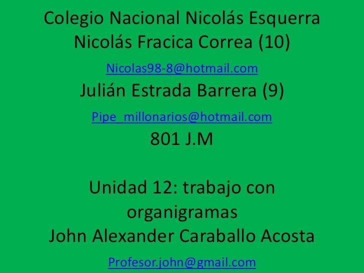 Colegio Nacional Nicolás Esquerra   Nicolás Fracica Correa (10)       Nicolas98-8@hotmail.com    Julián Estrada Barrera (9...