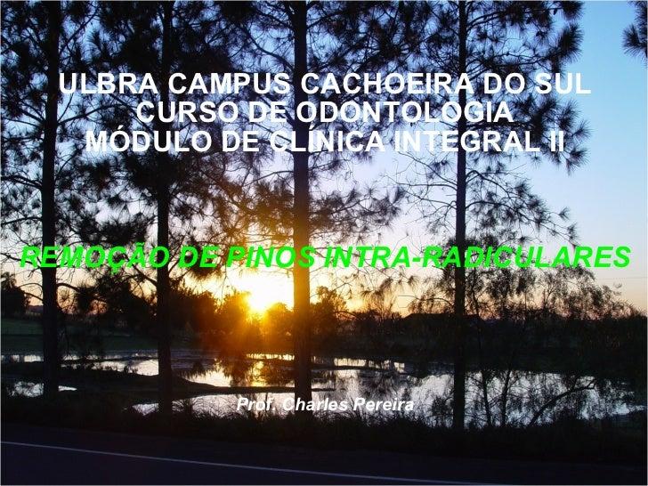 ULBRA CAMPUS CACHOEIRA DO SUL CURSO DE ODONTOLOGIA MÓDULO DE CLÍNICA INTEGRAL II REMOÇÃO DE PINOS INTRA-RADICULARES Prof. ...