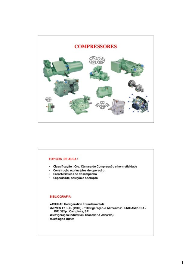1 COMPRESSORES TOPICOS DE AULA : • Classificação : Qto. Câmara de Compressão e hermeticidade • Construção e princípios de ...